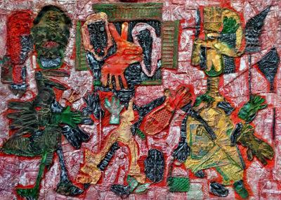 "EKATERINA KHROMIN – MOVING FEARS, 2018, heat pressured medium, metallic paint, sculpted surface, canvas, 53 x 75"""
