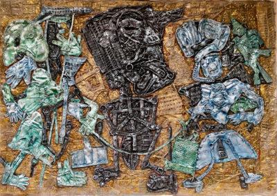 "EKATERINA KHROMIN – CONVERSATION WITH SILHOUETTE, 2018, heat pressured medium, metallic paint, sculpted surface, canvas, 53 x 75"""