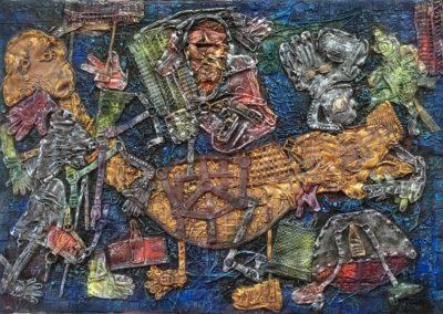 "EKATERINA KHROMIN – BIG BIRD, 2018, heat pressured medium, metallic paint, sculpted surface, canvas, 53 x 76"""