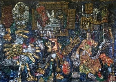 "EKATERINA KHROMIN – ENDLESS CONVERSATION WITH ONESELF, 2018, heat pressured medium, metallic paint, sculpted surface, canvas, 53 x 75"""
