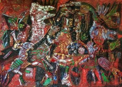 "EKATERINA KHROMIN – JEWISH WEDDING, 2018, heat pressured medium, metallic paint, sculpted surface, canvas, 56 x 76"""