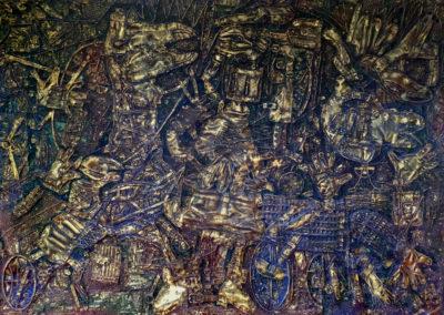 "EKATERINA KHROMIN – LIFE JOURNEY, 2018, heat pressured medium, metallic paint, sculpted surface, canvas, 56 x 76"""