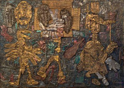 "EKATERINA KHROMIN – CONVERSATION WITH MY FATHER, 2019, heat pressured medium, metallic paint, sculpted surface, canvas, 53 x 75"""
