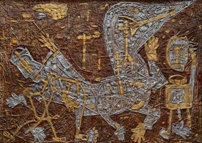 """EKATERINA KHROMIN – LOUIS VUITTON INSPIRATION #1, 2019, heat pressured medium, metallic paint, sculpted surface, canvas, 52 x 74"""""""
