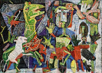 "EKATERINA KHROMIN – WINTER JOURNEY, 2019, heat pressured medium, metallic paint, sculpted surface, canvas, 56 x 75"""