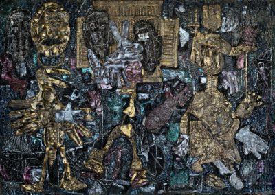 "EKATERINA KHROMIN – NIGHT CONVERSATION, 2019, heat pressured medium, metallic paint, sculpted surface, canvas, 53 x 79"""