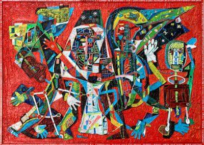 "EKATERINA KHROMIN – COVID-19, 2020, heat pressured medium, metallic paint, sculpted surface, canvas, 53 x 79"""