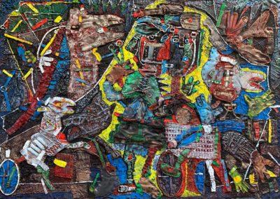 "EKATERINA KHROMIN – Exodus, 2020, heat pressured medium, metallic paint, sculpted surface, canvas, 53 x 79"""