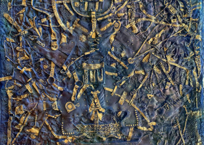 "EKATERINA KHROMIN – CONSTELLATION 79, 2020, heat pressured medium, metallic paint, sculpted surface, canvas, 75 x 53"""