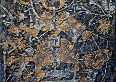 "EKATERINA KHROMIN – OPULENCE AND STEED, 2020, heat pressured medium, metallic paint, sculpted surface, canvas, 75 x 53"""