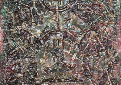 "EKATERINA KHROMIN – PEWTER MADNESS, 2020, heat pressured medium, metallic paint, sculpted surface, canvas, 75 x 53"""