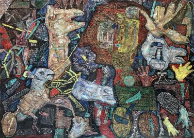 "EKATERINA KHROMIN – SELF-AWARENESS, 2020, heat pressured medium, metallic paint, sculpted surface, canvas, 53 x 79"""