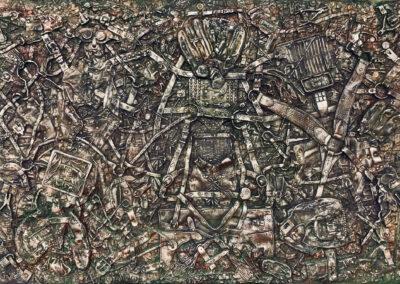 "EKATERINA KHROMIN – HAVOC OF METAL DREAMS, 2020, heat pressured medium, metallic paint, sculpted surface, canvas, 48 x 72"""